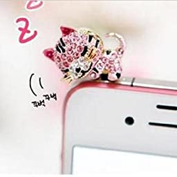 Kitty Party3.5mm Bling Earphone Jack Anti Dust Purplish Pink Rhinestone Cat Style