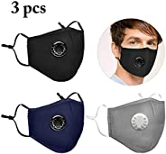 3PCS Mouth covers Breathable Anti-dust PM 2.5 Cotton covers with Valve & Fil