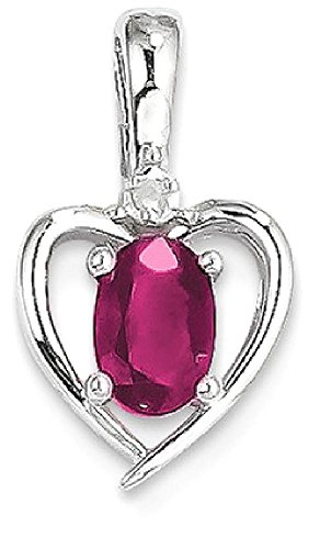 ICE CARATS 14k White Gold Red Ruby Diamond Pendant Charm Necklace Gemstone Birthstone July Set Style Fine Jewelry Gift Set For Women Heart by ICE CARATS