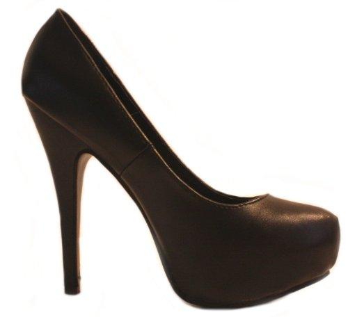 Erogance Kunstleder Plateau High Heels - Zapatos de vestir de material sintético para mujer negro - negro