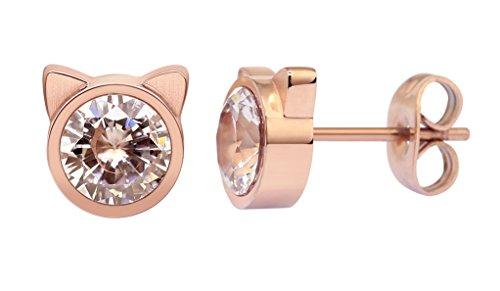 HANFLY Cat stud earrings Cat Ears Earrings Fashion earrings Rhinestone stud earrings (White Rhinestone) by HANFLY (Image #1)