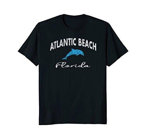 Vintage Dolphin Atlantic Beach FL Distressed T Shirt (Beach Fl Atlantic)