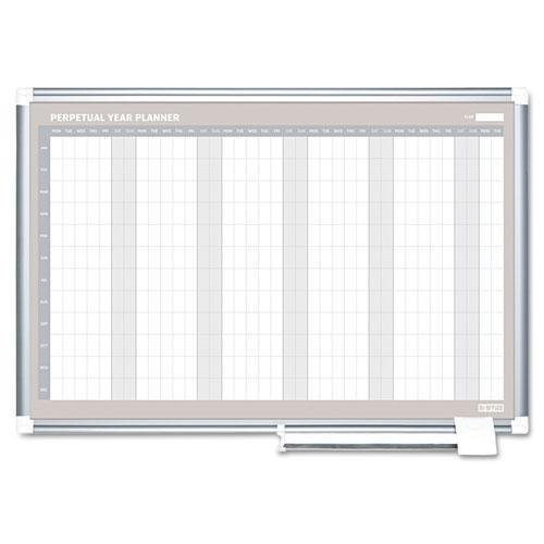MASTERVISION GA0594830 Perpetual Year Planner, 48x36, White/Silver,