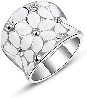 BMALL 18k White Gold Plated Ring Austrian Crustal Flower Printed Wide Ring
