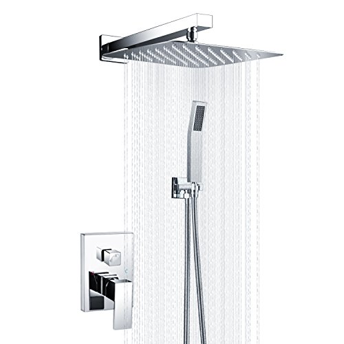 "SR SUN RISE SRSH-D1203 Bathroom Luxury Rain Mixer Shower Combo Set Wall Mounted Rainfall Shower Head System Polished Chrome (Shower Valve is NPT 1/2"")"