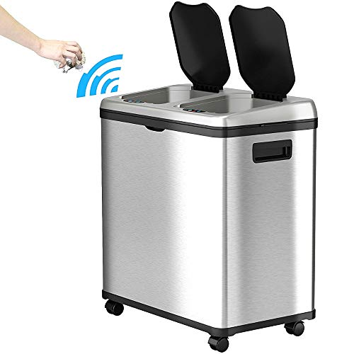 Garbage Can And Recycling Bin Combo Dual 16 Gal Automatic 4 Caster Wheels Recycler Bin Stainless Steel Kitchen Sensor Touchless Receptacle Waste Wastebasket Durable Easy Mobility & eBook by NAKSHOP
