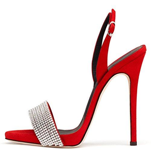 Amy Q - Zapatos con correa de tobillo mujer rojo (Red Suede)