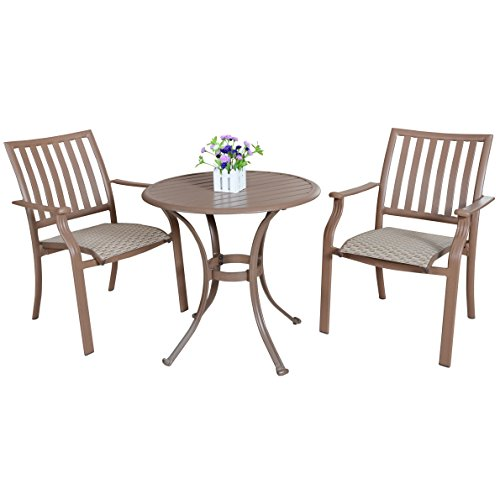 Panama Jack Outdoor Island Breeze 3 Piece Slatted Dining Bistro Group Set,  Includes 2 Armchairs And 30 Inch Round Table Aluminum Slatted Table