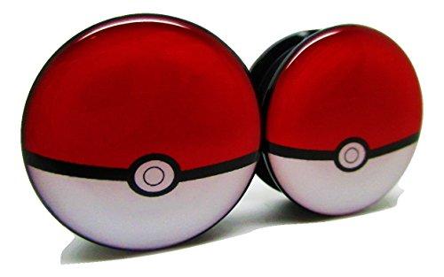 Pokemon Pokeball Ear Plugs - Acrylic Screw-On - 10 Sizes - Brand NewPair (2 Gauge (6mm)) (On The Go Ear Plugs)