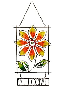 Your Heart's Delight Welcome Sunflower Suncatcher, 12 By 27-inch