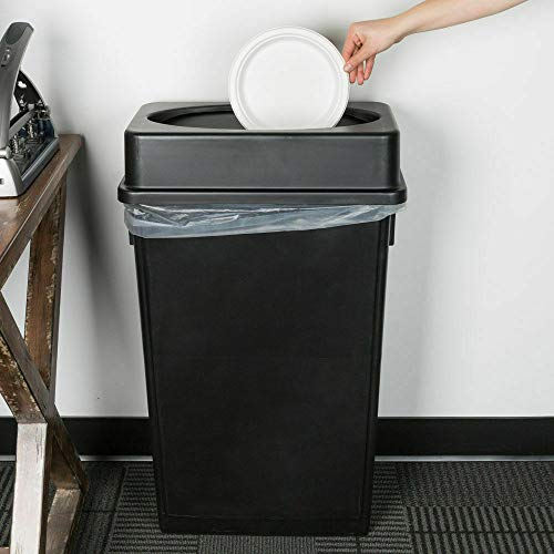 AVGDeals 23 Gallon Heavy Duty Black Plastic Slim Restaurant Kitchen Trash Can Swing Lid | Lid conceals Unattractive Waste and Reduces unpleasant Trash can Odors ()