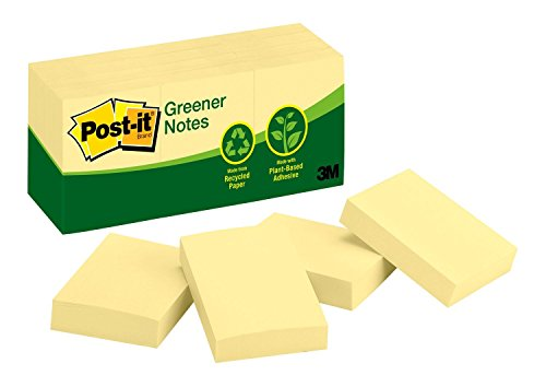 Post It Removable Message Pad - Post-it® Notes, Original Pad, 1-3/8 inches x 1-7/8 inches, Recycled, Canary Yellow, 12 Pads per Pack