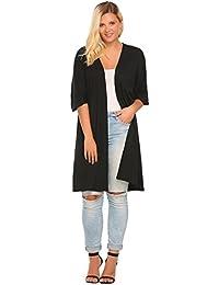 Women's Plus Size Elegant Lady Open Long Maxi Cardigan Casual Cardigans