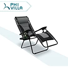 PHI VILLA Padded Zero Gravity Lounge Chair Patio Adjustable Reclining with Cup Holder for Outdoor Yard Porch Grey