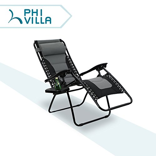 PHI VILLA Padded Zero Gravity Lounge Chair Patio Adjustable Reclining with Cup Holder for Outdoor Yard Porch Grey (Gravity Chair)