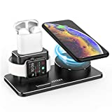 JOYEKY Aluminum Alloy Charger Stand Compatible for Apple Watch 3 in 1 Charging Stand for AirPods/iPhone/iWatch Series 4/3/2/1 Fast Wireless Charging Station