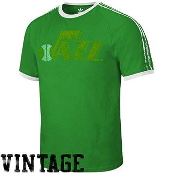 Adidas New Orleans Jazz Verde Envejecido Throwback Logo Camiseta de Timbre, Hombre, Verde