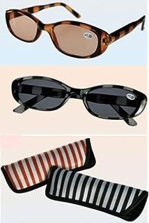 331bc73106cf60 GKA 2in1 Sonnenbrille mit Sehstärke Sonnenlesebrille im Etui Brille  Lesebrille Damen (2,0,