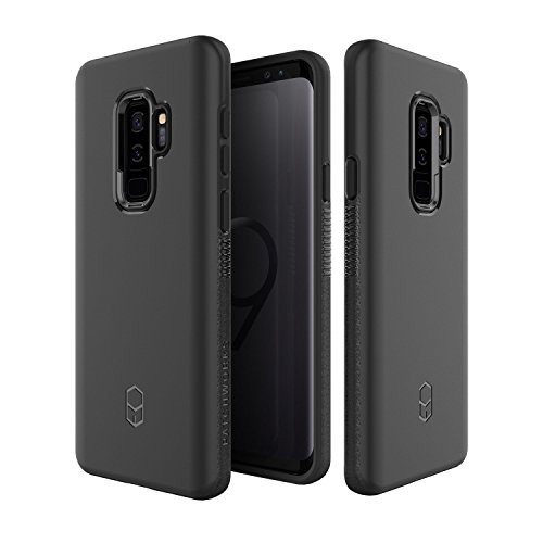 (Samsung Galaxy S9 Plus Case, Patchworks [Level ITG Series in Black] One Piece TPU PC Hybrid Dual Material Matte Finish Side Grip with Added Air Pocket and Drop Tested Hard Case for Galaxy S9 Plus)