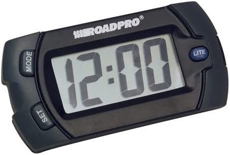 RoadPro 1324 Electronic Big Digit Clock and Calendar with Velcro Mounting Tape