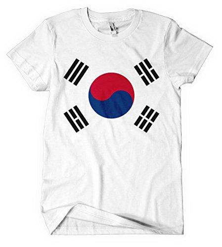 Korea Country Flag (South Korea Country Seal Flag White Cotton Adult Unisex T-shirt Tee Top Xl)