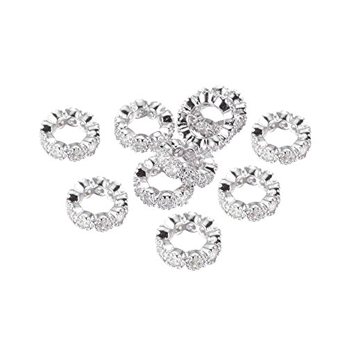 NBEADS 10PCS 10mm Brass Cubic Zirconia Beads Platinum Rondelle Spacer Connector Large Hole Charms Bracelet Necklace Beads