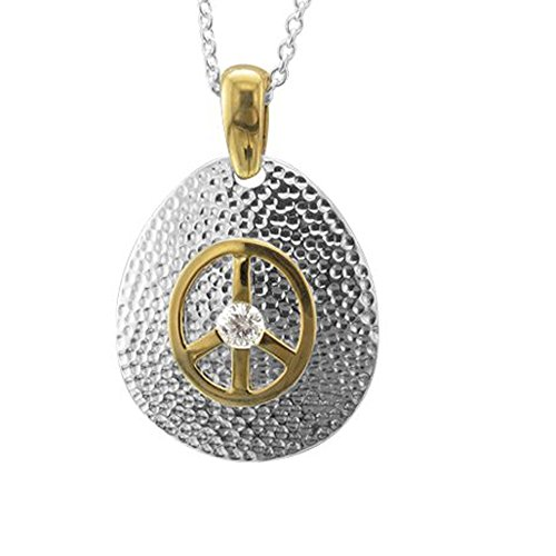 Sterling Silver Peace Sign Diamond Pendant Necklace (0.14 carat)
