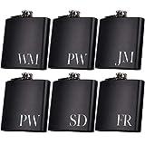 Set of 6, Set of 3, Single - Personalized Flask, Groomsmen Gift, Customized Groomsman Flasks, Wedding Favors, Matte Black, Design 2 (6)