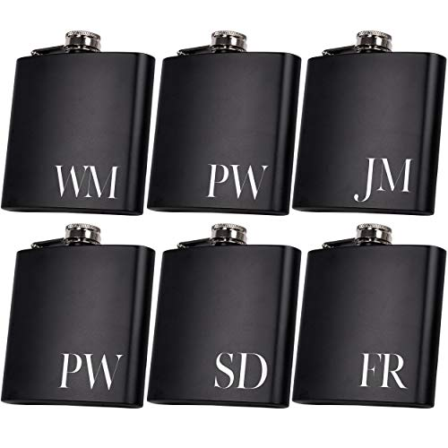 Set of 6, Set of 3, Single - Personalized Flask, Groomsmen Gift, Customized Groomsman Flasks, Wedding Favors, Matte Black, Design 2 (6)