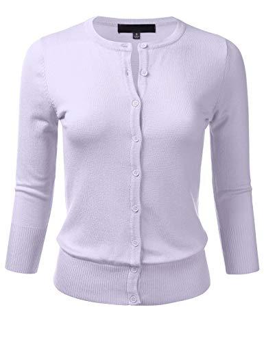 Women's Button Down 3/4 Sleeve Crew Neck Knit Cardigan Sweater Lilac 3X Crew Long Sleeve Cardigan