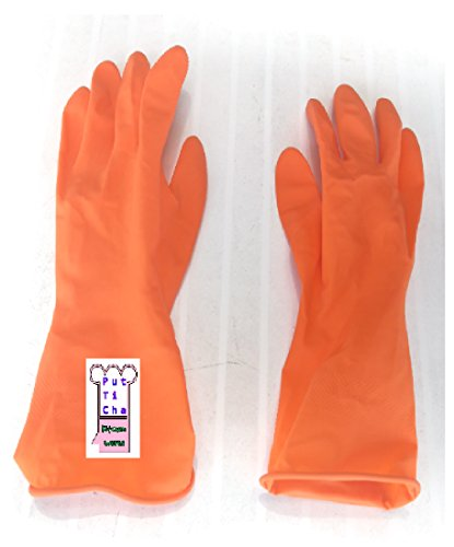 Putticha Durable Dishwashing Gloves Waterproof Household Warm Water Dust Stop Cleaning Rubber Orange