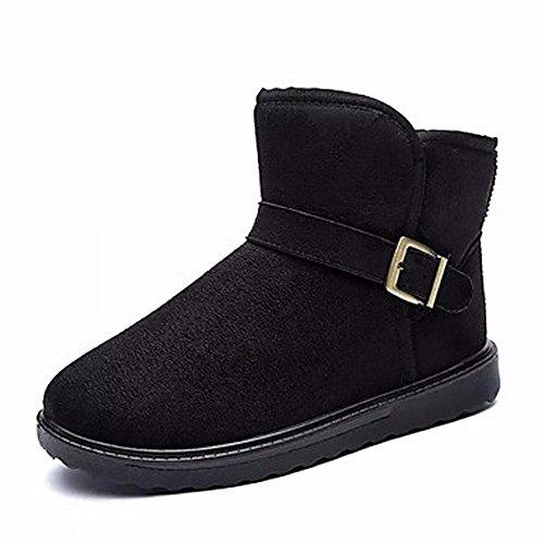 ZHUDJ Chaussures pour Femmes Printemps Automne Neige Bottes Bottes Confort Bout Rond Bottes Mid-Calf pour Athletic Bleu Brun Noir Gris Café,Black,Us8.5/Eu39/Uk6.5/Cn40