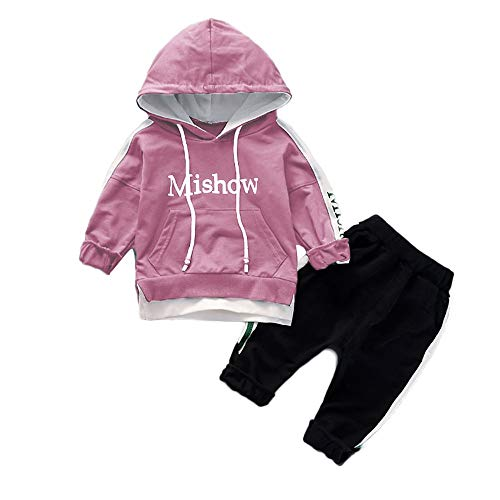 Baby Clothes Girl Newborn,Toddler Kids Baby Boy Girl Letter Hooded Pullover Tops+Pants Clothes Set Outfits,Coats, Jackets & Vests,Pink, ()