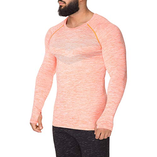 Kamo Fitness Long Sleeve Activewear T-Shirt for Men with Fast Drying and Moisture Transport (XL, Orange)