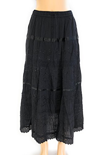 Nu Deals Embroidered & Embellished Peasant Sweep Skirts with Hippie Boho Lace Trim (1X, Black) ()
