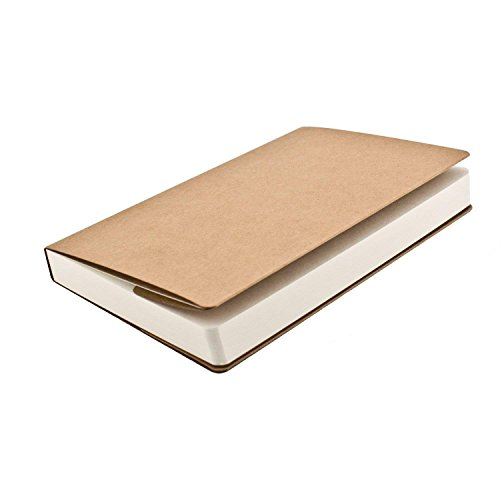 Sketch Book Blank Full Wood Paper Unlined Notebook Journals for Travelers Kraft Brown Soft Cover - A5 Size - 112 Sheets/224 Pages, 8.3 x 5.5