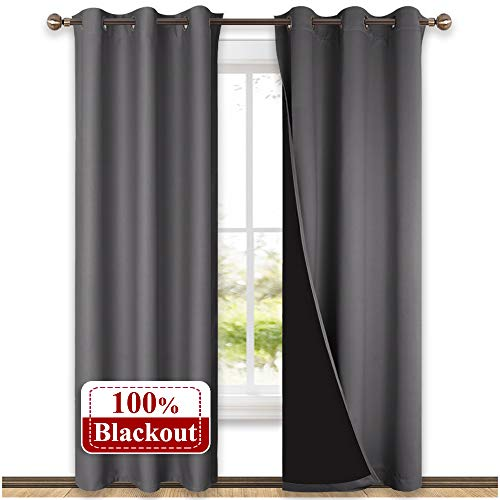 NICETOWN Grey Full Shade Curtain Panels, Pair of Thermal Insulated & Energy Efficiency Blackout Curtains for Living Room Windows, Lined Silky Performance Window Dressing (42