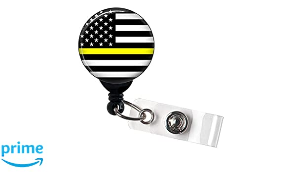 Retractable Badge Reel Name Tag ID Pull Clip Holder Lanyard 911 Dispatcher Gift