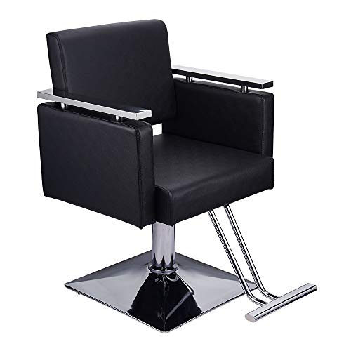 Barber Chair Heavy Duty Reclining Hydraulic Barber Chairs Square Base Boutique Salon Chair for Hair Stylist Tattoo Chair Heavy Duty Barber Salon Equipment (Black)