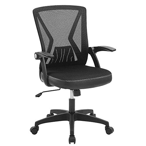 Ergonomic Office Desk Chair Mesh Swivel Computer Task Chair Mid-Back with Flip up Arms-Black 300lb
