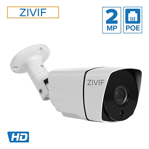 Zivif PoE Security IP Camera 1080P Bullet Indoor Outdoor Network CCTV Cameras with Wide Angle IR Nightvision Motion Detection