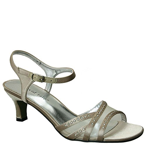 David Tate Women's Violet Ankle Strap Sandal,Champagne Satin,US 7.5 W