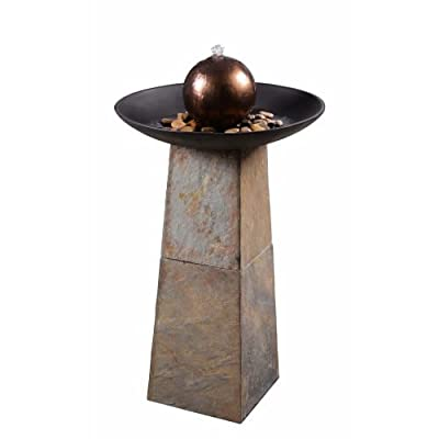 Kenroy Home Rustic Outdoor Floor Fountain ,35.5 Inch Height, 20 Inch Width, 20 Inch Ext. with Slate, ORB and Copper Ball… - NATURAL GREEN SLATE: real natural rusty green slate has unique color patterns, making each individual piece its own work of art while staying consistent with other pieces in the series RUSTIC APPEARANCE: the natural green slate, decorative river stones, and dual copper and oil rubbed bronze finishes create a rustic design perfect for your backyard oasis - place in flower beds, gardens, landscaping, porches, decks, or outdoor living rooms for a calming transitional accent. DIMENSIONS: 35.5 inch height, 20 inch diameter - patio, outdoor-decor, fountains - 41zU7vlZhHL. SS400  -