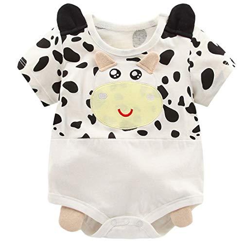 (YIJIUJIU Newborn Baby Boy Girl Short-Sleeve Bodysuit Unisex Cow Style Onesies Clothes 12-18)
