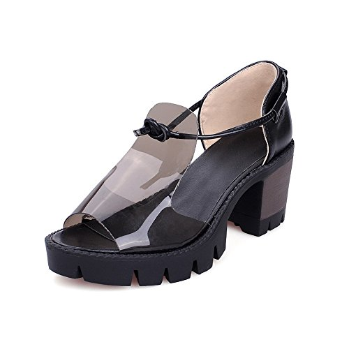 Amoonyfashion Dames Pull-on Pu Open Teen Hoge Hakken Effen Platforms-sandalen Zwart
