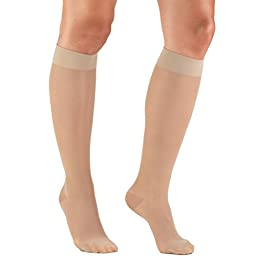 Truform Women\'s 15-20 mmHg Sheer Knee High Compression Stockings, Nude, Large