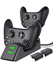 ESYWEN Xbox One Controller Charger Dual Xbox Controller Charging Station with 2X 800mAh Rechargeable Battery Packs for Xbox One/One S/One X/Xbox Elite Controller