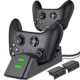 Controller Charger for Xbox one, Controller Charging Station Compatible with Xbox One/One X/One S/One Elite, Dual Charging Dock with 2 x 1200mAh Rechargeable Battery Packs