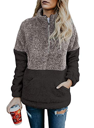 Acelitt Women's 1/4 Zip Ladies Cozy Color Block Fuzzy Loose Casual Winter Coat Autumn Fluffy Fleece Pullover Pockets Sweatshirts Small