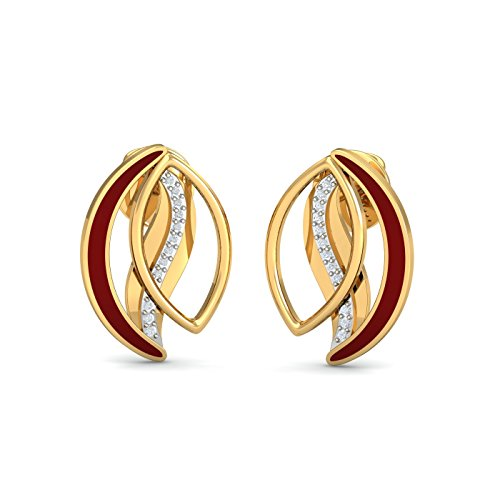 KuberBox 14KT Yellow Gold and Diamond Stud Earrings for Women